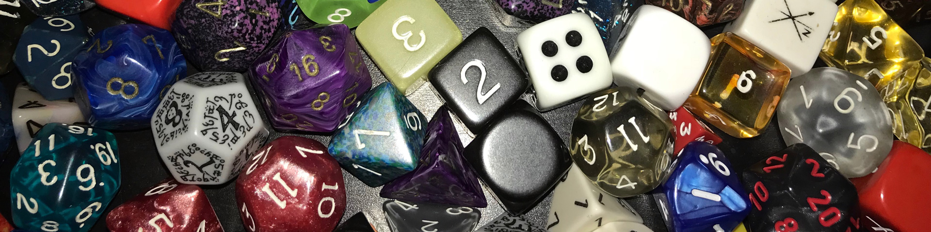 Dozens of polyhedral dice.