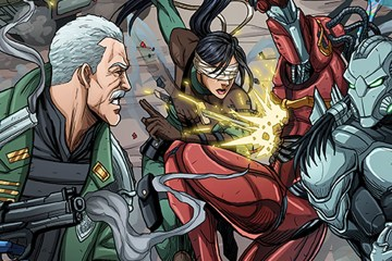 Heroes and villains fight on a chaotic, G.I. Joe-like battlefield.