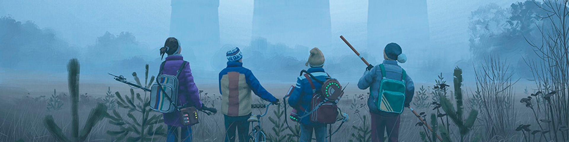 Four kids with bikes look at the looming shapes of cooling towers peaking through the mists.