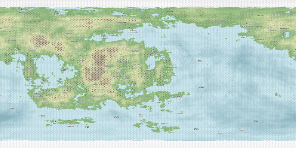 A rectangular map of a fantasy world. The land and oceans are divided up into hexes, some of which are labeled with location information.