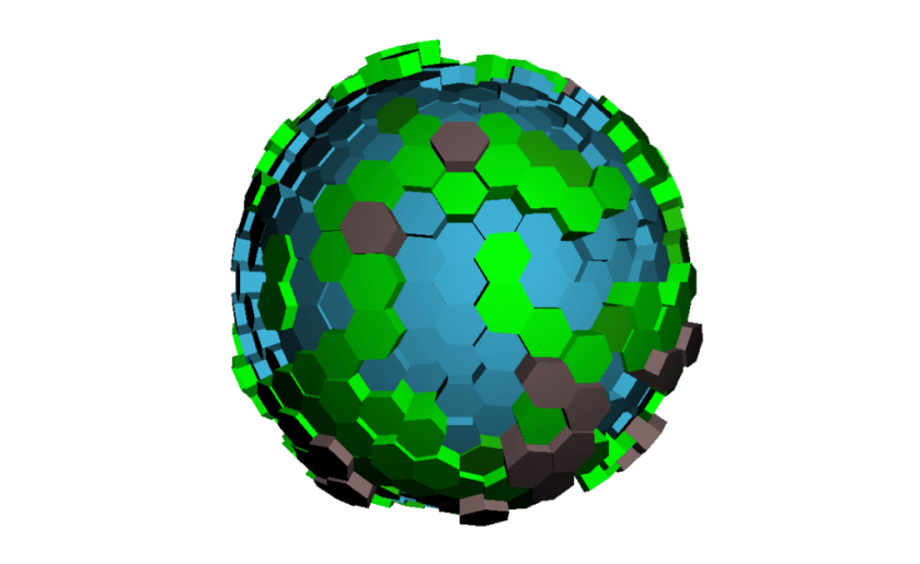A spherical, hex-based world.