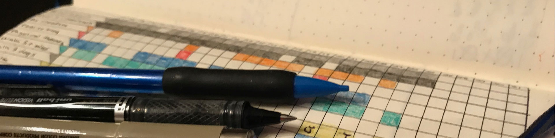 Three pens sitting on a grid-style bullet journal notebook. The colored squares of a habit tracker appear in the background.