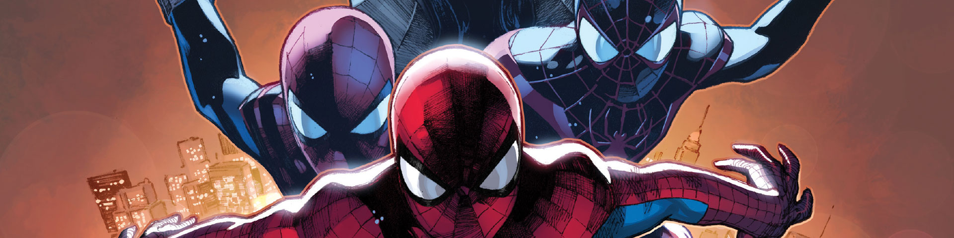 A close up shot of several different Spider-men.