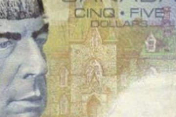 A Canadian five dollar bill ... modified to look like Spock.