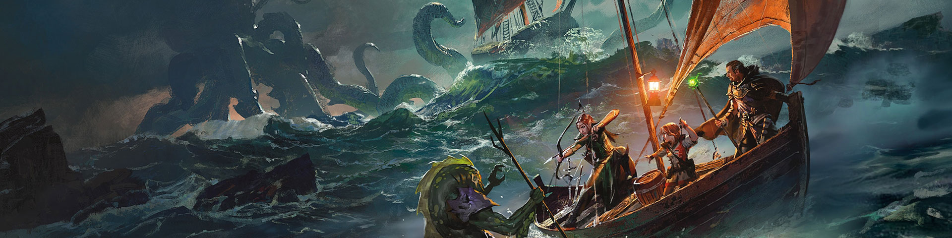 Adventurers battle an aquatic humanoid while a giant octopus attacks a sailing ship in the background.