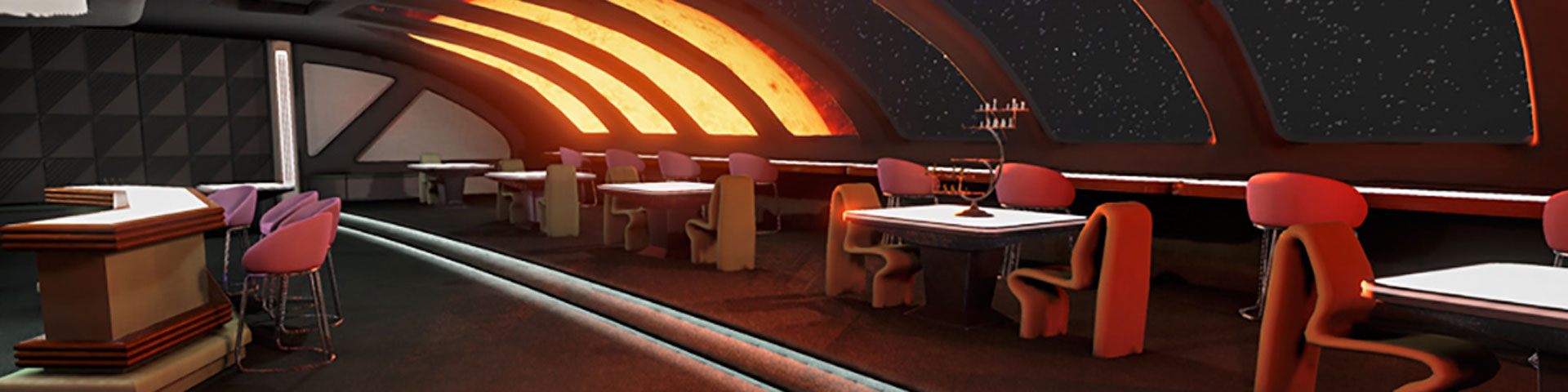 A lounge in space. A bar can be seen to the left; tables with seats look out on space on the right