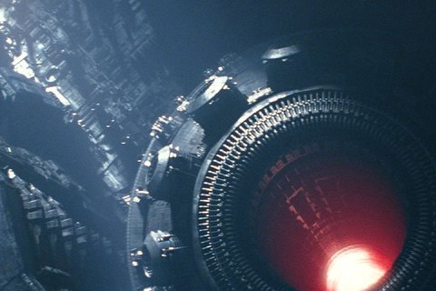 A close up of the cannon aperture of the planet-sized Starkiller Base.