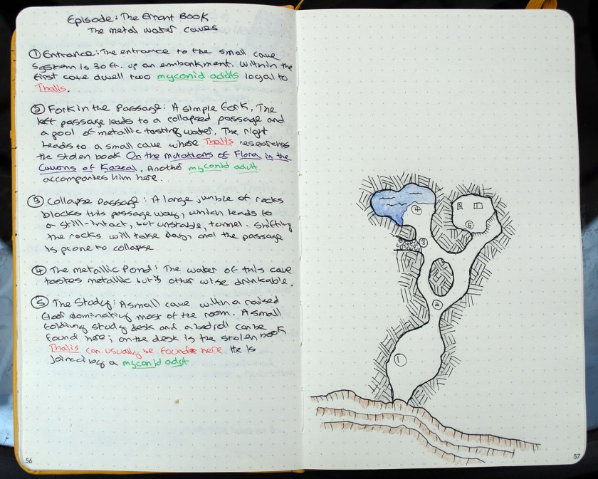 A location write-up. An adventure key appears on the left; a hand-drawn cave complex map appears on the right.