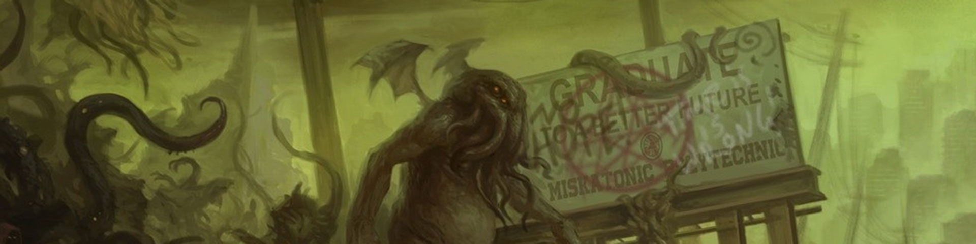 A tentacled humanoid creature with wings on its back stalks across a green-tinged landscape.