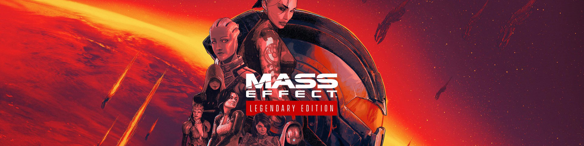 A number of female characters from mass affect appear against a red background