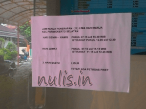 Jam Buka & Tutup Pelayanan Administrasi Kecamatan
