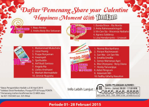 27 Pemenang Share Your Valentine Happiness Moment Timtam - Alfamidi