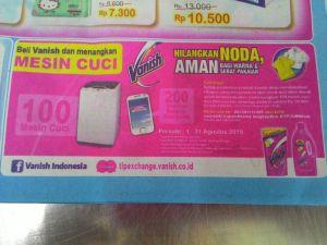 Beli Vanish, Menangkan : 100 Mesi Cuci & 200 Voucher Belanja Elektronik
