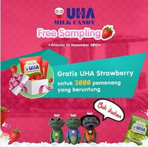 Gratis 3000 Permen UHA Milk Strawberry