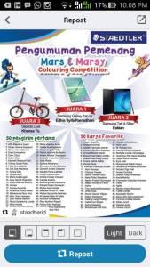 103 Pemenang Mars & Marsy Colouring Competition