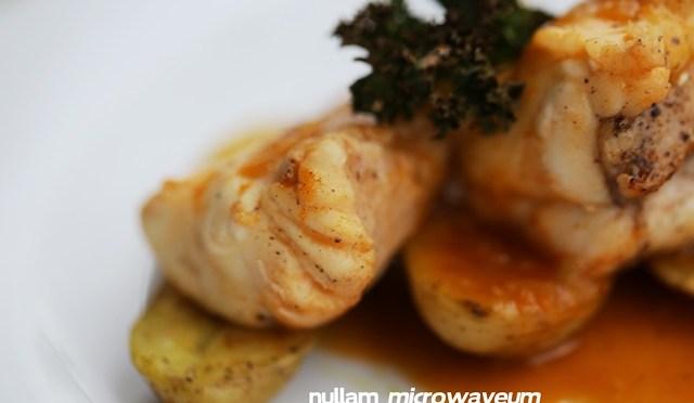 Médaillons van lotte met bisque de homard karamelsaus