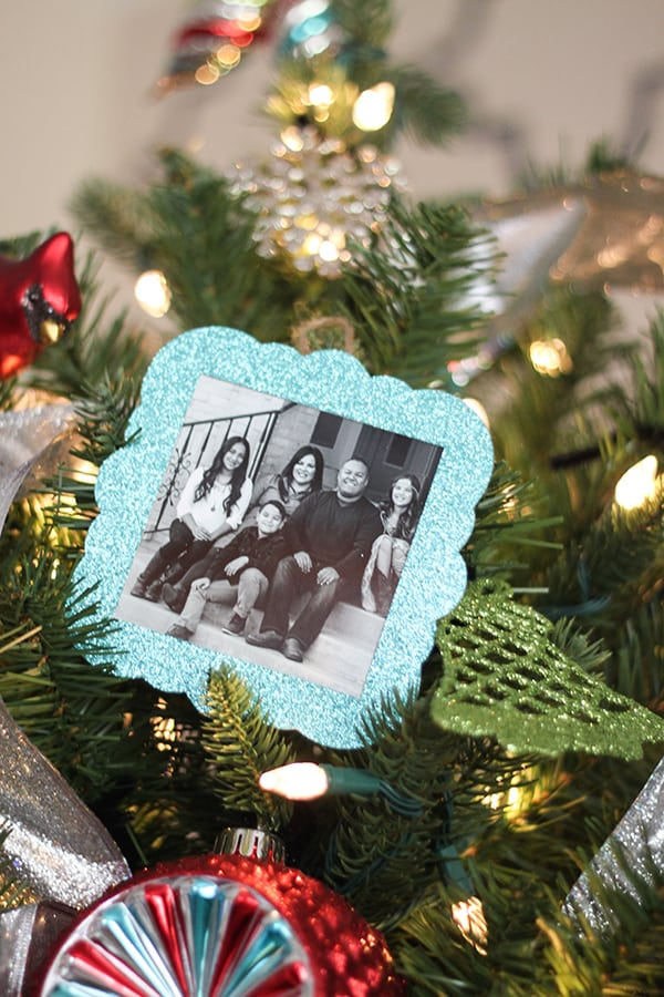 Aqua And Red Personalized Christmas Tree With DIY Photo