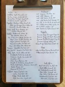 Number 3 - Sample Red Wine List
