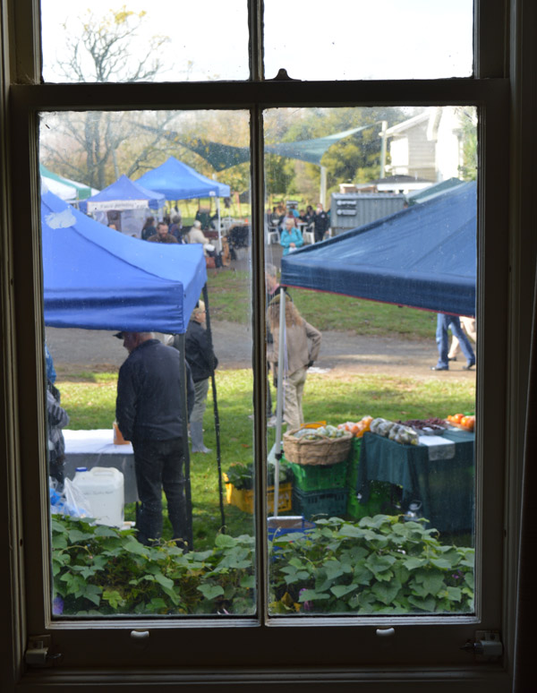 The market comes to life outside Caz's window.  Photo:  Ciaran Warner
