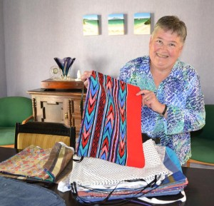 Gayle with some of the fabric bags.