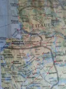 Kaliningrad region landlocked between NATO countries.
