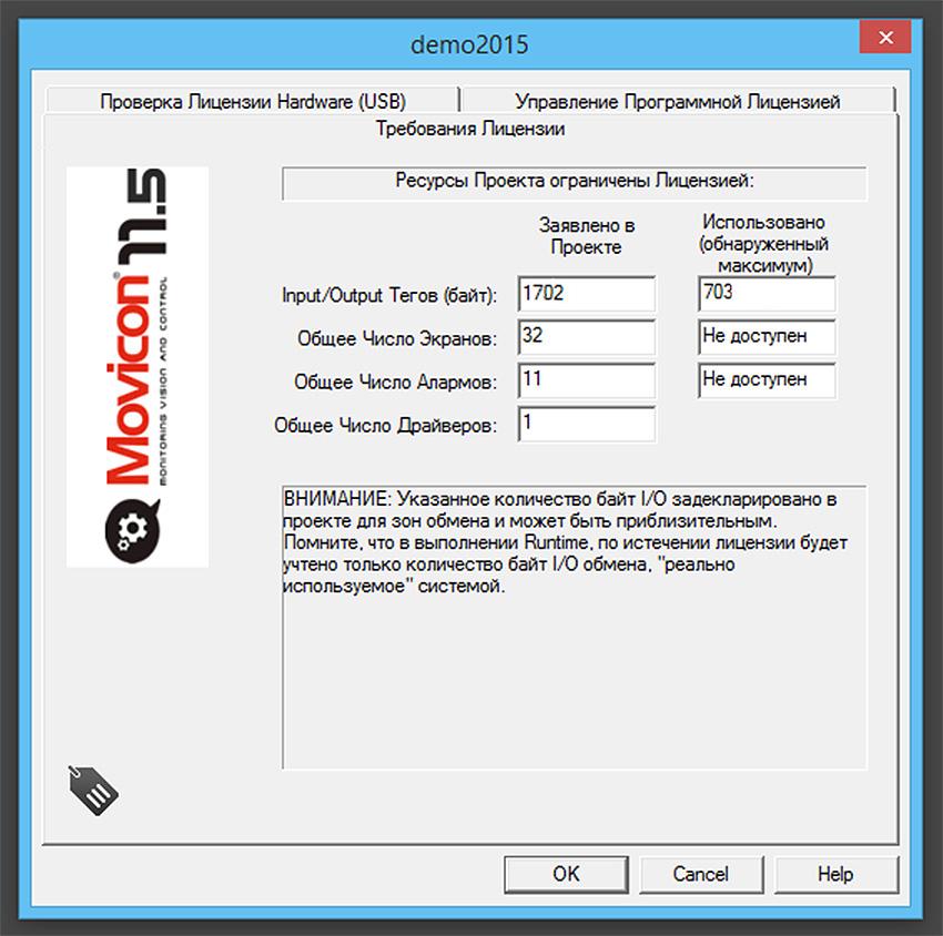 Размер лицензии Scada-системы Movicon 11