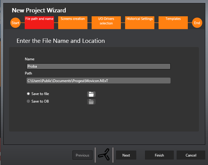 Name and path of new proejct