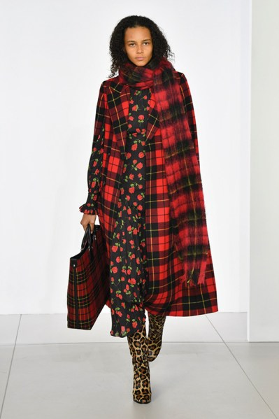 Red tartan and black and red print floral with leopard print boots