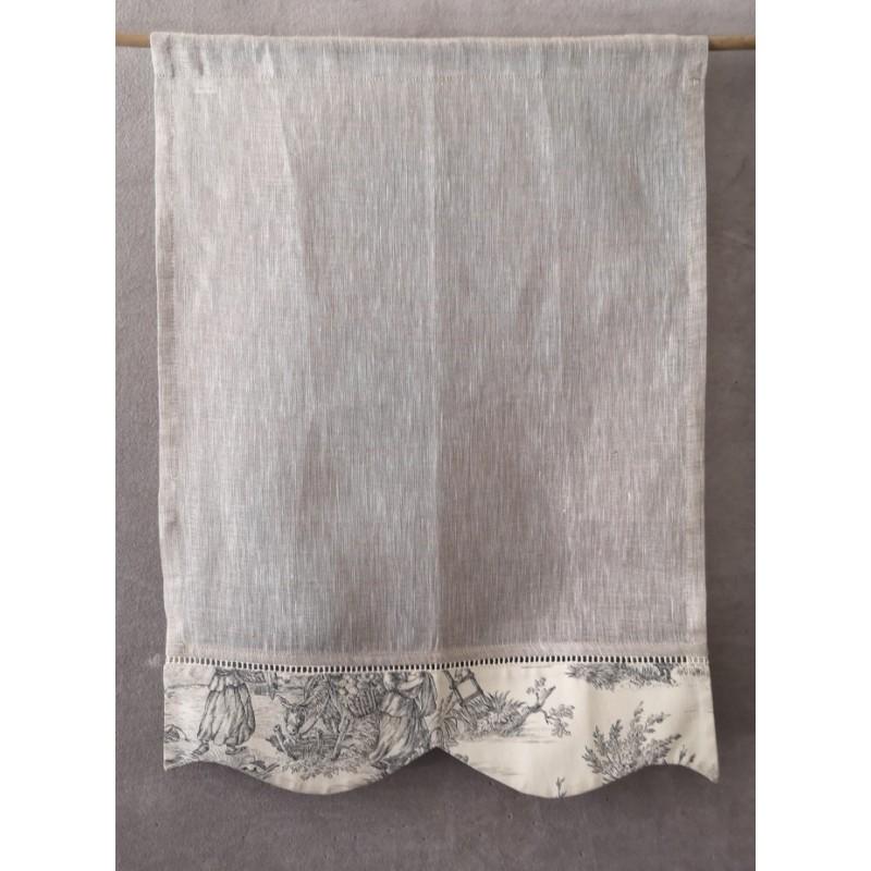 brise bise voile lin gris festonne toile de jouy 45 x 60 rideau n 214 numero 11