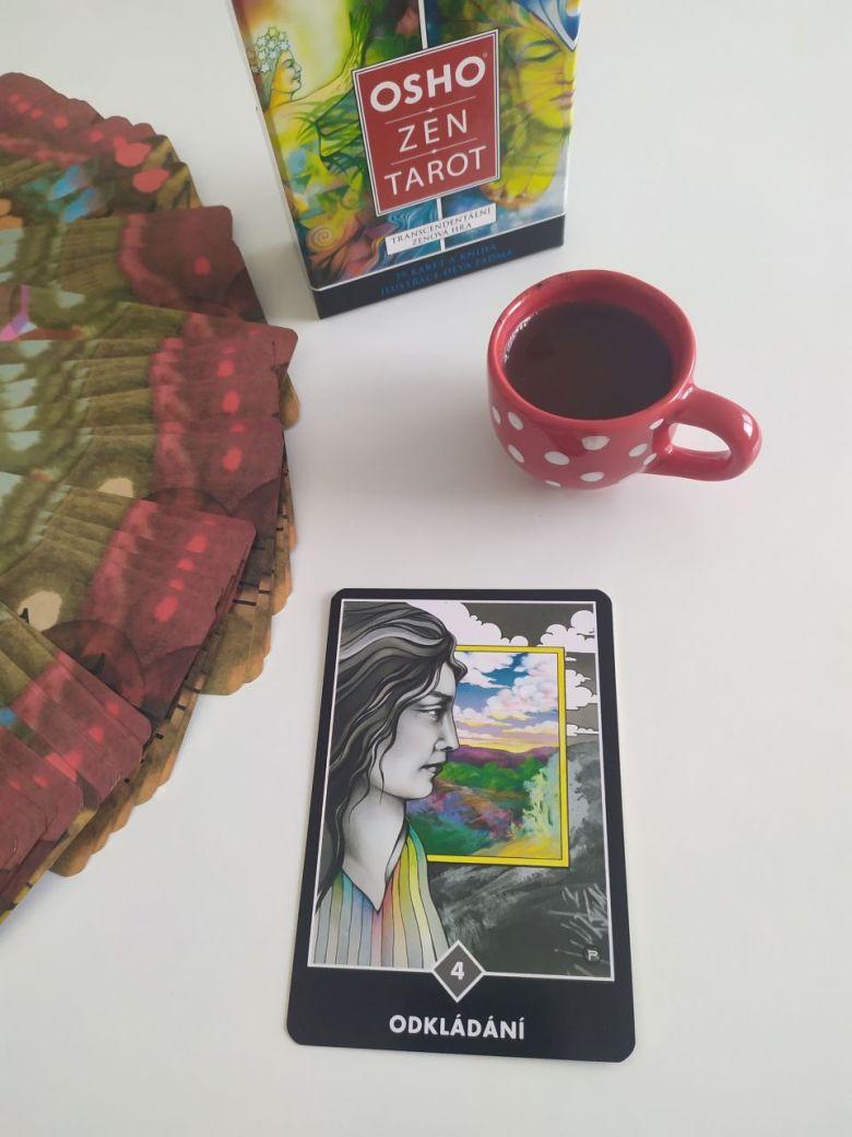 Tarotová karta Osho Zen Tarot 4 mrakov Odkladanie