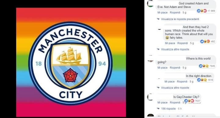 Omofobia contro il Manchester City | numerosette.eu