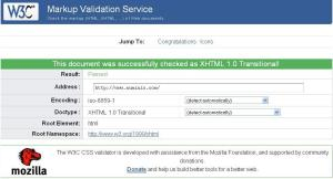 Sample of Validated Web page result