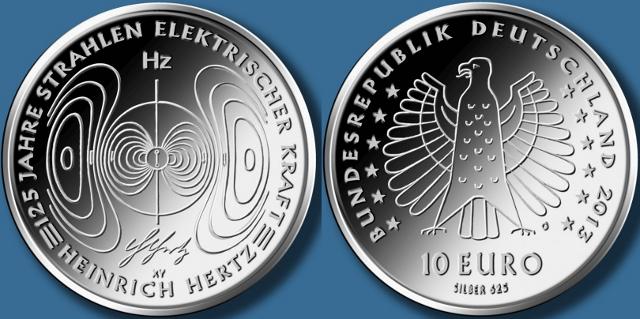 10 euros 2013 125 años descubrimiento ondas electromagnéticas
