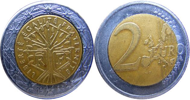 moneda 2 euros falsa