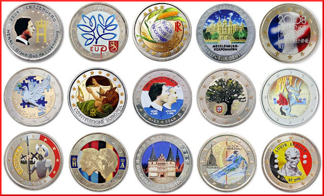 monedas coloreadas