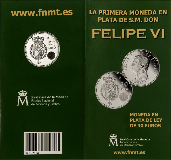 30 Euro Felipe VI blister parte exterior abierta