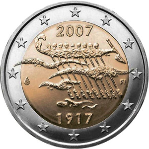 Moneda de 2 euros conmemorativa acuñada por Finlandia en 2007 por su 90 aniversario de independencia.