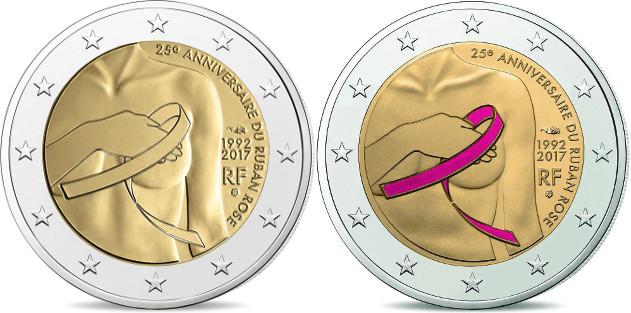 emitida moneda 2 cc de francia 25 aniversario del lazo rosa numismatica visual. Black Bedroom Furniture Sets. Home Design Ideas