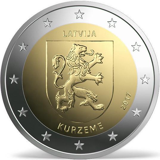 Estas son las dos monedas de 2€ cc Letonia 2017 Kur