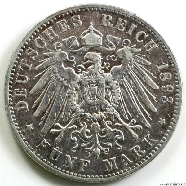 Hambourg 5 mark 1893