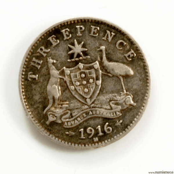Australie 3 pence 1916 M