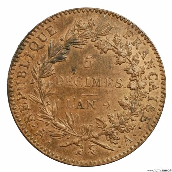 Convention 5 decimes 1793 Paris