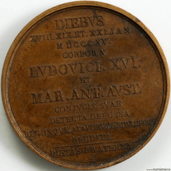 Louis XVIII médaille pour l'exhumation et la translation des restes de Louis XVI et Marie Antoinette
