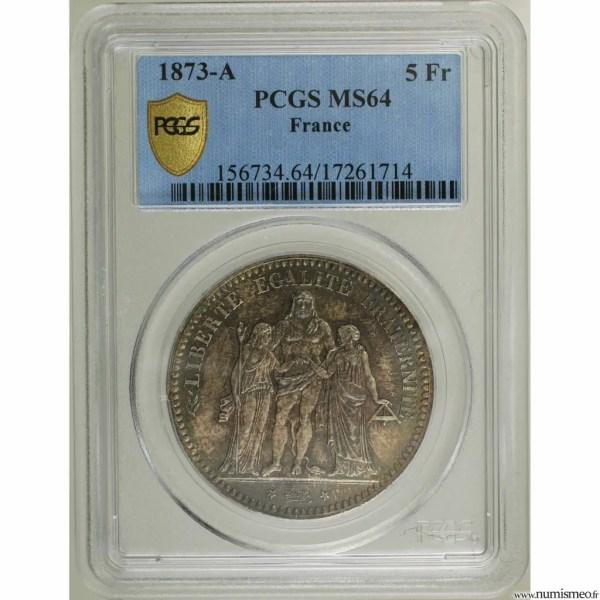 5 Francs Hercule 1873 PCGS secure plus MS64