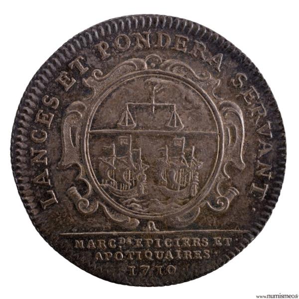 jeton corporation de Paris épiciers apothicaires 1710