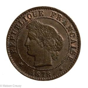 Third Republic 1 centime 1878 Bordeaux