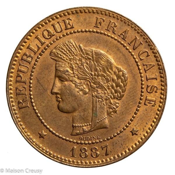 Third Republic 5 centimes Ceres 1887 Paris