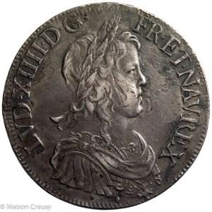 Louis XIV AR écu à la mèche longue 1652 Aix