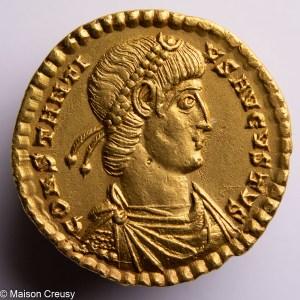 Constantius II AV solidus Treveri (trier) mint struck AD 346-348