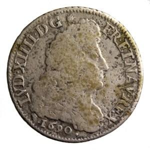 Louis XIV quart ecu 1690 D pointé
